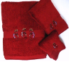 Kokopelli Southwest 3 pc. Towel Set - Pomegranate