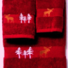 Moose in the Trees Towel Set - Pomegranate