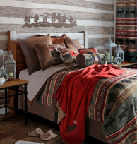 Backwoods 8 pc. King Bedding Set wFringe Euro Shams