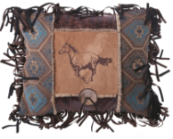 Embroidered Horse & Button Pillow