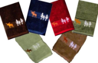 Moose in the Trees Embroidered Hand Towel