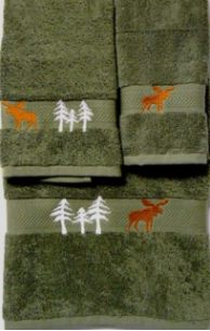 Moose in the Trees Towel Set - Moss