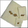 Pinecone Branch Towel Set - Ivory Egyptian Cotton