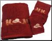 Boots & Hat 3 pc. Towel Set - Garnet