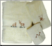 Majestic Deer 3 pc Towel Set - Ivory