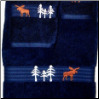 Moose in the Trees Towel Set - Navy